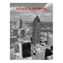 Aerial View of Atlanta, Georgia In Black and White Postcard