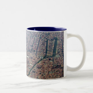 Aerial view of Barcelona Two-Tone Coffee Mug