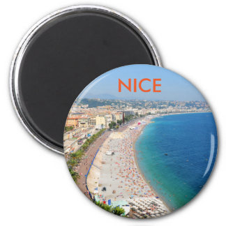 Aerial view of beach in Nice, France Magnet