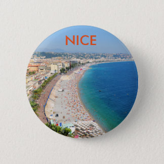 Aerial view of beach in Nice, France Pinback Button