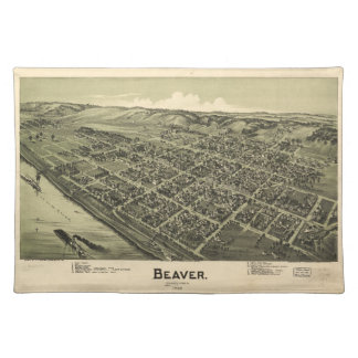 Aerial View of Beaver Pennsylvania (1900) Cloth Placemat