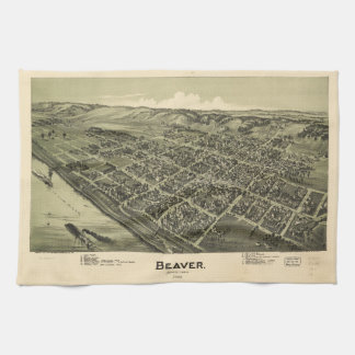 Aerial View of Beaver Pennsylvania (1900) Kitchen Towel