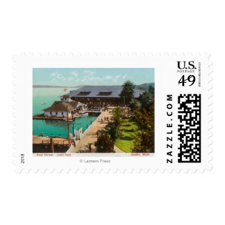 Aerial View of Boat House, Lake, Leshi Park Stamps