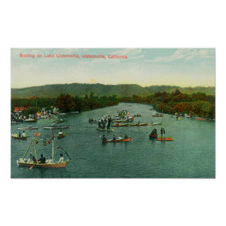 Aerial View of Boats on Lake Watsonville Posters