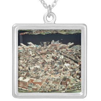 Aerial view of Boston, MA Silver Plated Necklace