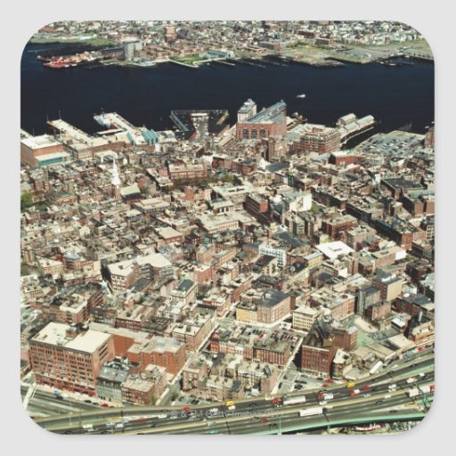 Aerial view of Boston, MA Stickers