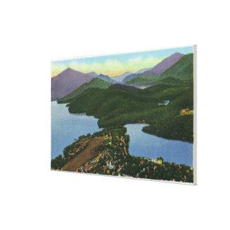 Aerial View of Both Lake Placid & Mirror Lake Canvas Print