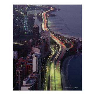 Aerial view of buildings along a highway in a poster