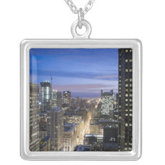 Aerial view of buildings along State Street in Square Pendant Necklace