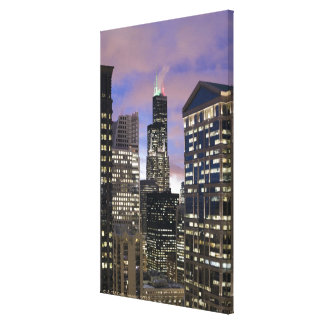 Aerial view of buildings in the Chicago Loop, Canvas Print