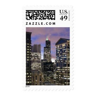 Aerial view of buildings in the Chicago Loop, Postage Stamp