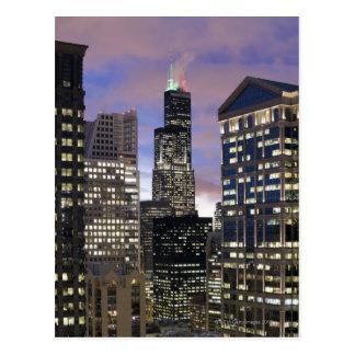 Aerial view of buildings in the Chicago Loop, Postcard