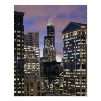 Aerial view of buildings in the Chicago Loop, Posters