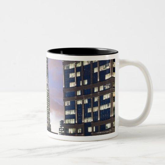 Aerial view of buildings in the Chicago Loop, Two-Tone Coffee Mug