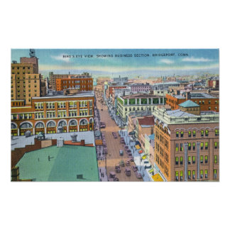 Aerial View of Business Section of the City Poster