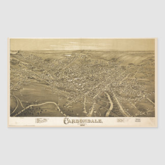 Aerial View of Carbondale, Pennsylvania (1890) Rectangular Sticker