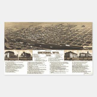 Aerial View of Cheyenne, Wyoming (1882) Rectangular Sticker