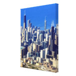 Aerial view of Chicago Downtown with Lake Canvas Print