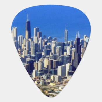 Aerial View Of Chicago Downtown With Lake Guitar Pick by iconicchicago at Zazzle