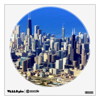 Aerial view of Chicago Downtown with Lake Wall Sticker
