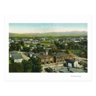 Aerial View of City, Fire Station & Municipal Postcard