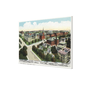 Aerial View of City Hospital Stretched Canvas Prints