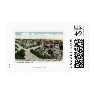 Aerial View of City Hospital Postage Stamp
