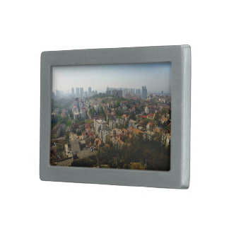 Aerial view of city in daytime rectangular belt buckle