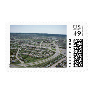 Aerial view of cityscape of Newfoundland, Canada Postage