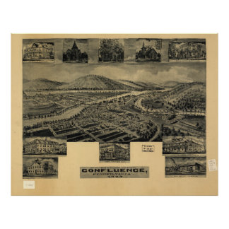 Aerial View of Confluence, Pennsylvania (1905) Poster