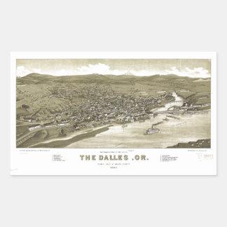 Aerial View of Dalles, Oregon (1884) Rectangular Sticker