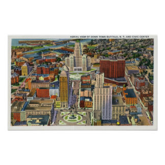 Aerial View of Downtown and the Civic Center Poster