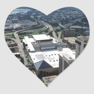 Aerial view of downtown Cincinnati Heart Sticker