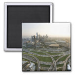 Aerial view of downtown Dallas, Texas 2 Inch Square Magnet