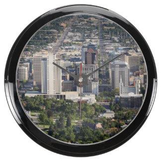 Aerial view of downtown Salt Lake City, Utah Aquavista Clocks
