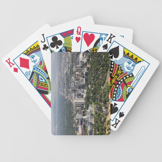 Aerial view of downtown Salt Lake City, Utah Bicycle Playing Cards