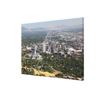 Aerial view of downtown Salt Lake City, Utah Canvas Print
