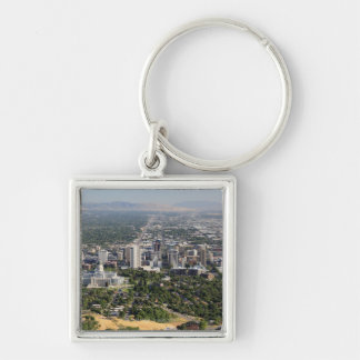 Aerial view of downtown Salt Lake City, Utah Silver-Colored Square Keychain