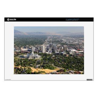"Aerial view of downtown Salt Lake City, Utah 15"" Laptop Decal"