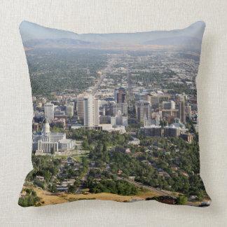 Aerial view of downtown Salt Lake City, Utah Throw Pillow