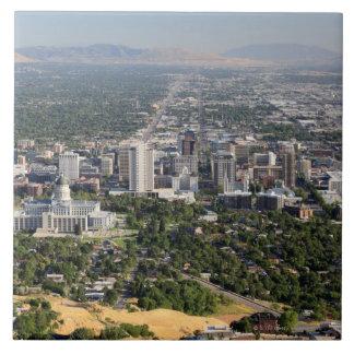 Aerial view of downtown Salt Lake City, Utah Tile