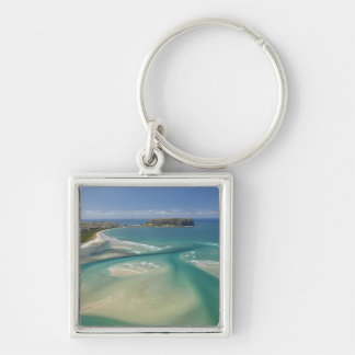 Aerial view of estuary, Sawyer Bay, Stanley and Silver-Colored Square Keychain