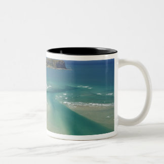 Aerial view of estuary, Sawyer Bay, Stanley and Two-Tone Coffee Mug