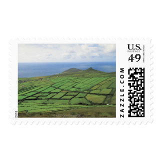 aerial view of farmland by the sea postage stamp