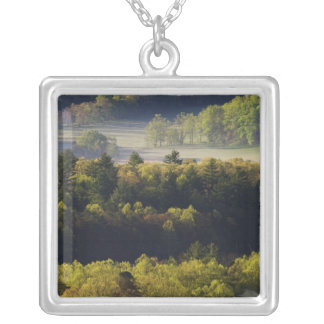 Aerial view of forest in Cades Cove, Great Smoky Silver Plated Necklace