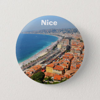 Aerial view of French Riviera in Nice, France Button