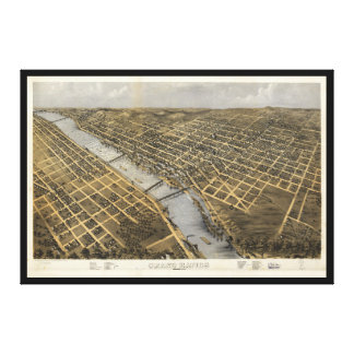 Aerial View of Grand Rapids, Michigan (1868) Canvas Print