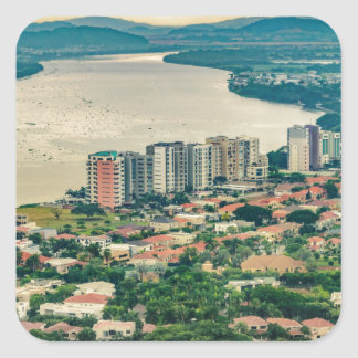 Aerial View of Guayaquil Outskirt from Plane Square Sticker