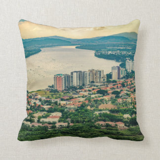 Aerial View of Guayaquil Outskirt from Plane Throw Pillow