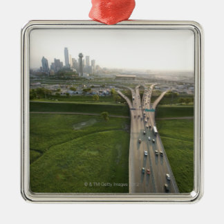 Aerial view of highway in Dallas, Texas Metal Ornament